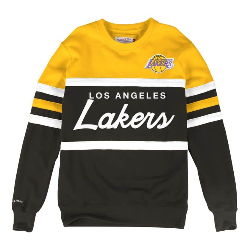 MITCHELL & NESS LOS ANGELES LAKERS HEAD COACH CREW SWEATSHIRT