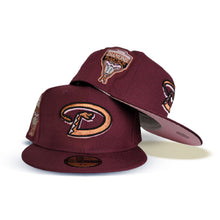 Load image into Gallery viewer, Product - Maroon Arizona Diamondbacks Pink Bottom 1998 Inaugural Season New Era 59Fifty Fitted