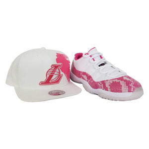 Matching Los Angeles Lakers Mitchell & Ness Snapback Hat For Jordan 11 Low Pink Snakeskin