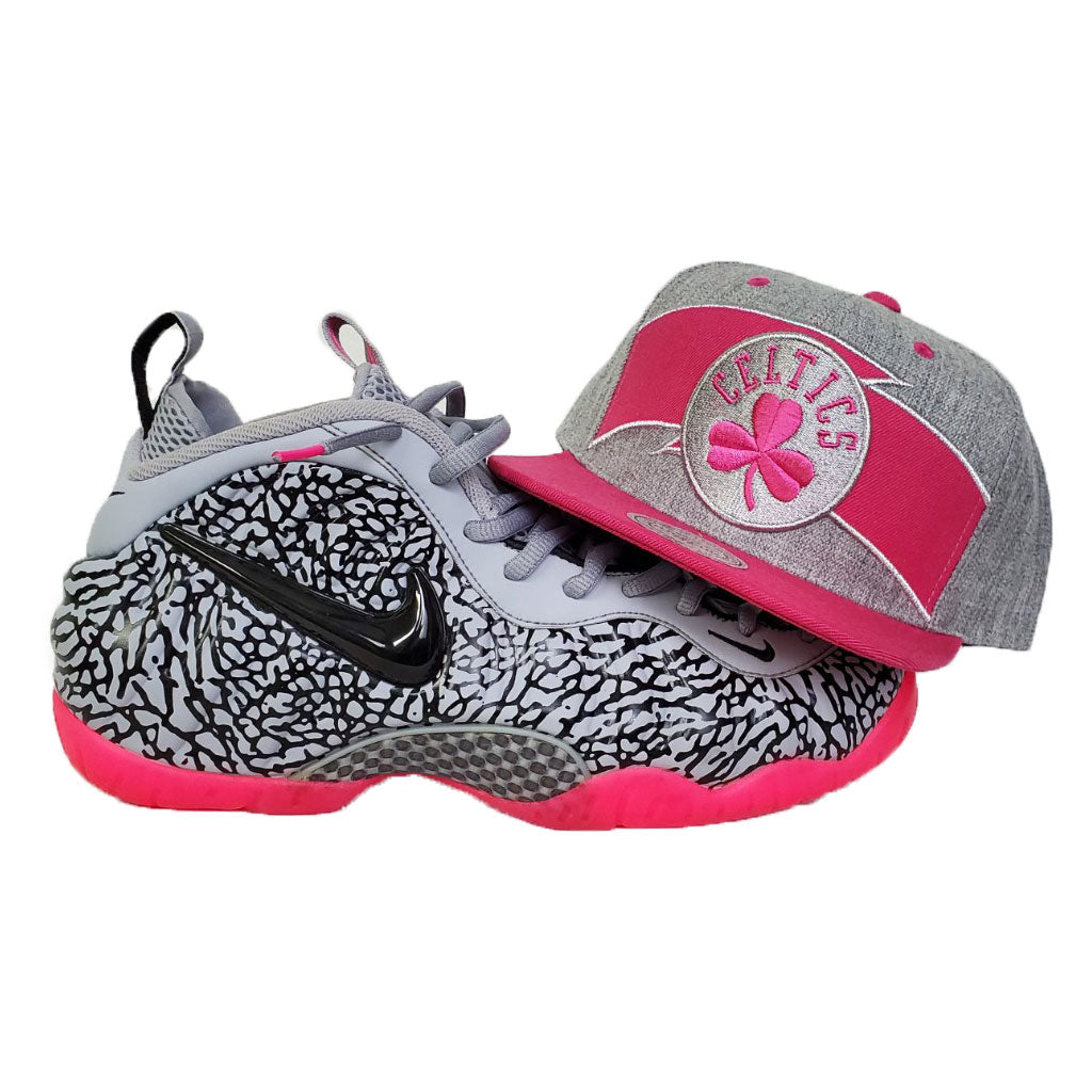 Matching Mitchell & Ness Boston Celtics Snapback For Nike Foamposite Pink Elephant Print