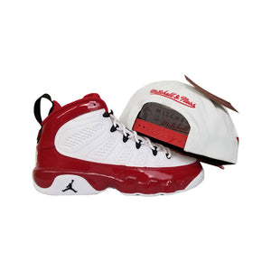 Matching Mitchell & Ness Brooklyn Nets Snapback Hat For Jordan 9 Gym Red