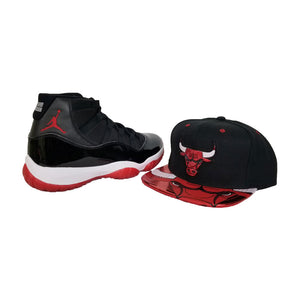 Matching Mitchell & Ness Chicago Bulls Snapback Hat For Jordan 11 Bred
