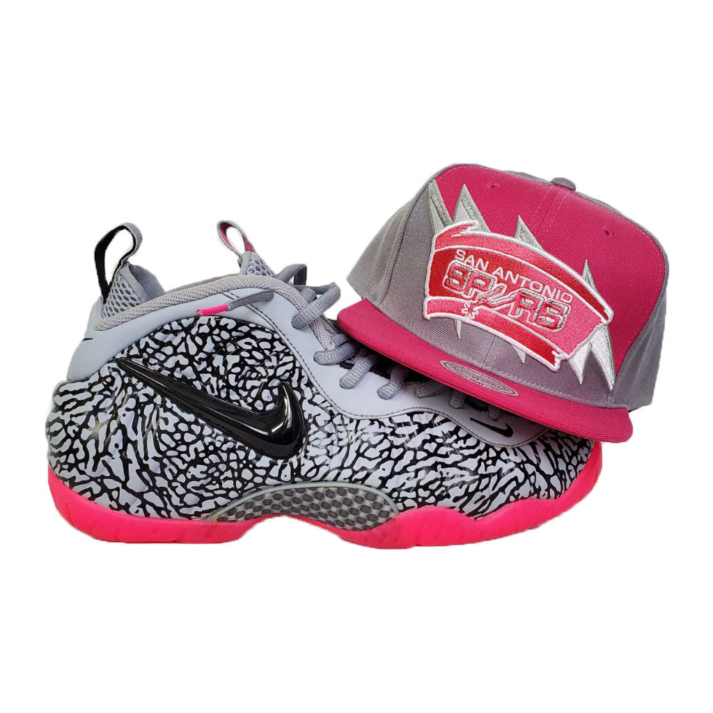 Matching Mitchell & Ness San Antonio Spurs Snapback For Nike Foamposite Pink Elephant Print