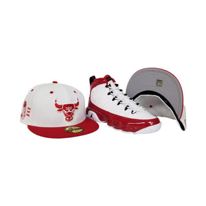 Matching New Era 2-Tone Chicago Bulls Fitted Hat For Jordan 9 Gym Red