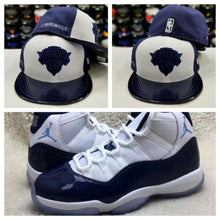Load image into Gallery viewer, Matching New Era 59Fifty NBA New York Knicks Fitted Hat for Jordan 11 Midnight Navy