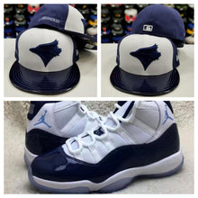 Load image into Gallery viewer, Matching New Era 59Fifty Toronto Blue Jays Fitted Hat for Jordan 11 Midnight Navy
