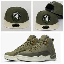 Load image into Gallery viewer, Matching New Era 9Fifty Olive Green Minnesota Timberwolves Snapback Hat for Jordan 12 Chris Paul