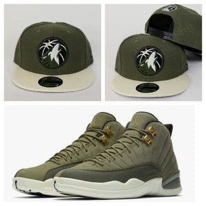 Matching New Era 9Fifty Olive Green Minnesota Timberwolves Snapback Hat for Jordan 12 Chris Paul
