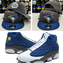 Load image into Gallery viewer, Matching New Era 9Fifty Toronto Blue Jays snapback hat for Air Jordan 13 Flint