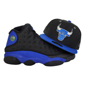 Matching New Era Black Chicago Bulls 59Fifty Fitted Hat for Jordan 13 Hyper Royal