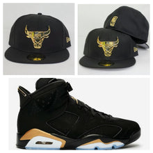 Load image into Gallery viewer, Matching New Era Black Chicago Bulls Fitted Hat for Jordan 6 DMP