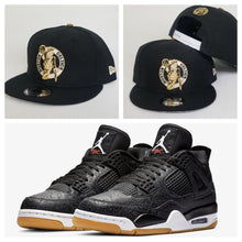 Load image into Gallery viewer, Matching New Era Boston Celtics Snapback for Jordan 4 Laser Black Gum