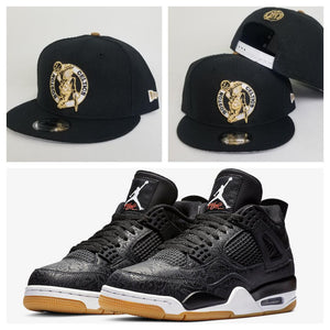 Matching New Era Boston Celtics Snapback for Jordan 4 Laser Black Gum