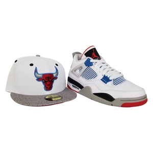 Matching New Era Cement Print Chicago Bulls Fitted Hat For Jordan 4 What The