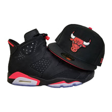 Load image into Gallery viewer, Matching New Era Chicago Bulls Fitted Hat for Jordan 6 Black Infrared OG