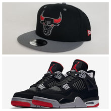 Load image into Gallery viewer, Matching New Era Chicago Bulls 9Fifty Snapback Hat for Jordan 4 Bred