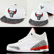 Load image into Gallery viewer, Matching New Era Chicago Bulls Cement Print 59Fifty Fitted Hat For Jordan 3 Katrina