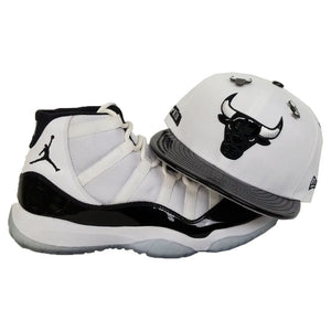 Matching New Era Chicago Bulls Dual Pin Fitted for Jordan 11 White Black Concord
