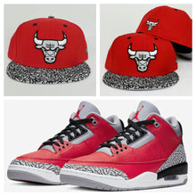 Load image into Gallery viewer, Matching New Era Chicago Bulls Fitted Hat For Jordan 3 Red Cement