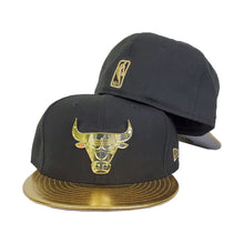 Load image into Gallery viewer, Matching New Era Chicago Bulls Fitted Hat for Jorda 6 DMP Black Gold