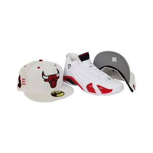 Matching New Era Chicago Bulls Fitted for Jordan 14 Candy Cane