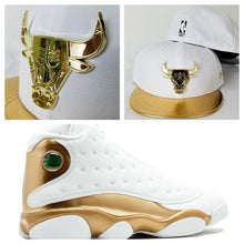 Load image into Gallery viewer, Matching New Era Chicago Bulls Gold Metal Fitted Hat Jordan 13 DMP White Gold