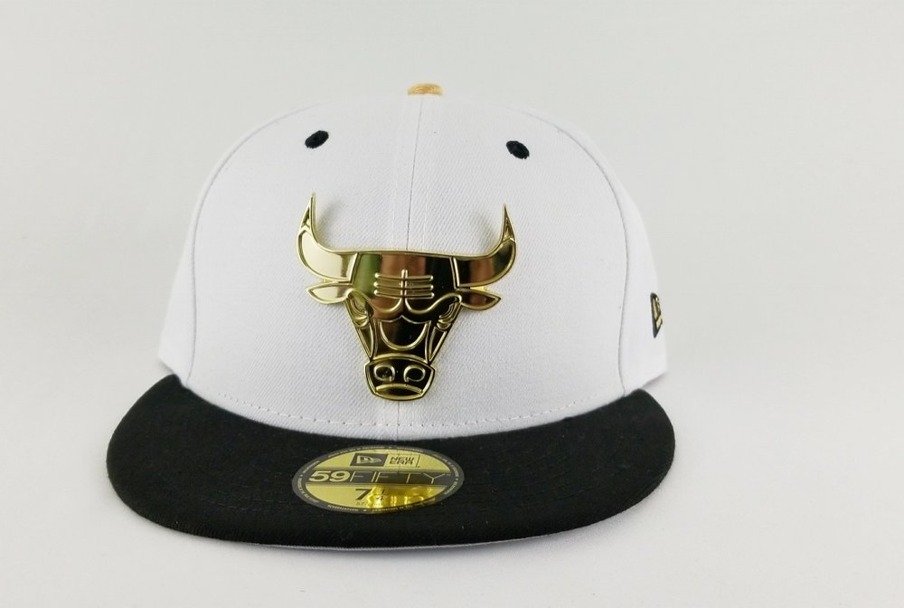 Matching New Era Chicago Bulls Gold Metal Fitted Hat Jordan 9 Black White Los Angeles