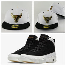 Load image into Gallery viewer, Matching New Era Chicago Bulls Gold Metal Fitted Hat Jordan 9 Black White Los Angeles