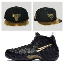 Load image into Gallery viewer, Matching New Era Chicago Bulls Metal Snapback for Nike Foamposite Pro Black Metalic Gold