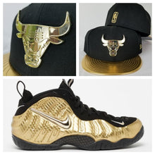 Load image into Gallery viewer, Matching New Era Chicago Bulls Metal logo Fitted Hat for Nike Foamposite Gold Foams