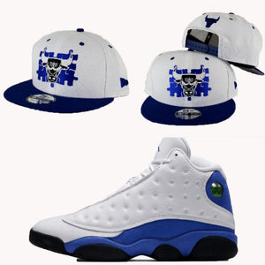 Matching New Era Chicago Bulls Puzzle Snapback Hat for Jordan 13 Hyper Blue