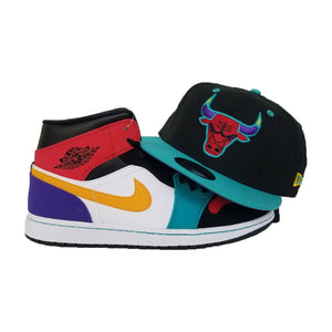 Matching New Era Chicago Bulls Snapback Hat For Jordan 1 Mid Bred Multi-Color