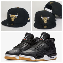 Load image into Gallery viewer, Matching New Era Chicago Bulls Snapback for Jordan 4 Laser Black Gum