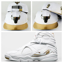 Load image into Gallery viewer, Matching New Era Chicago Bulls White / Gold Metal Badge 9Fifty Snapback for Jordan 8 White OVO