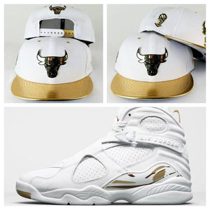 Matching New Era Chicago Bulls White / Gold Metal Badge 9Fifty Snapback for Jordan 8 White OVO