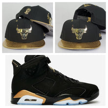 Load image into Gallery viewer, Matching New Era Chicago Bulls Snapback Hat for Jordan 6 DMP Black Gold