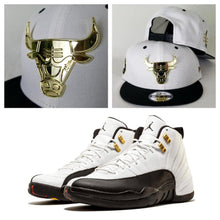 Load image into Gallery viewer, Matching New Era Gold Metal Chicago Bulls 9Fifty Snapback for Jordan 12 Taxi