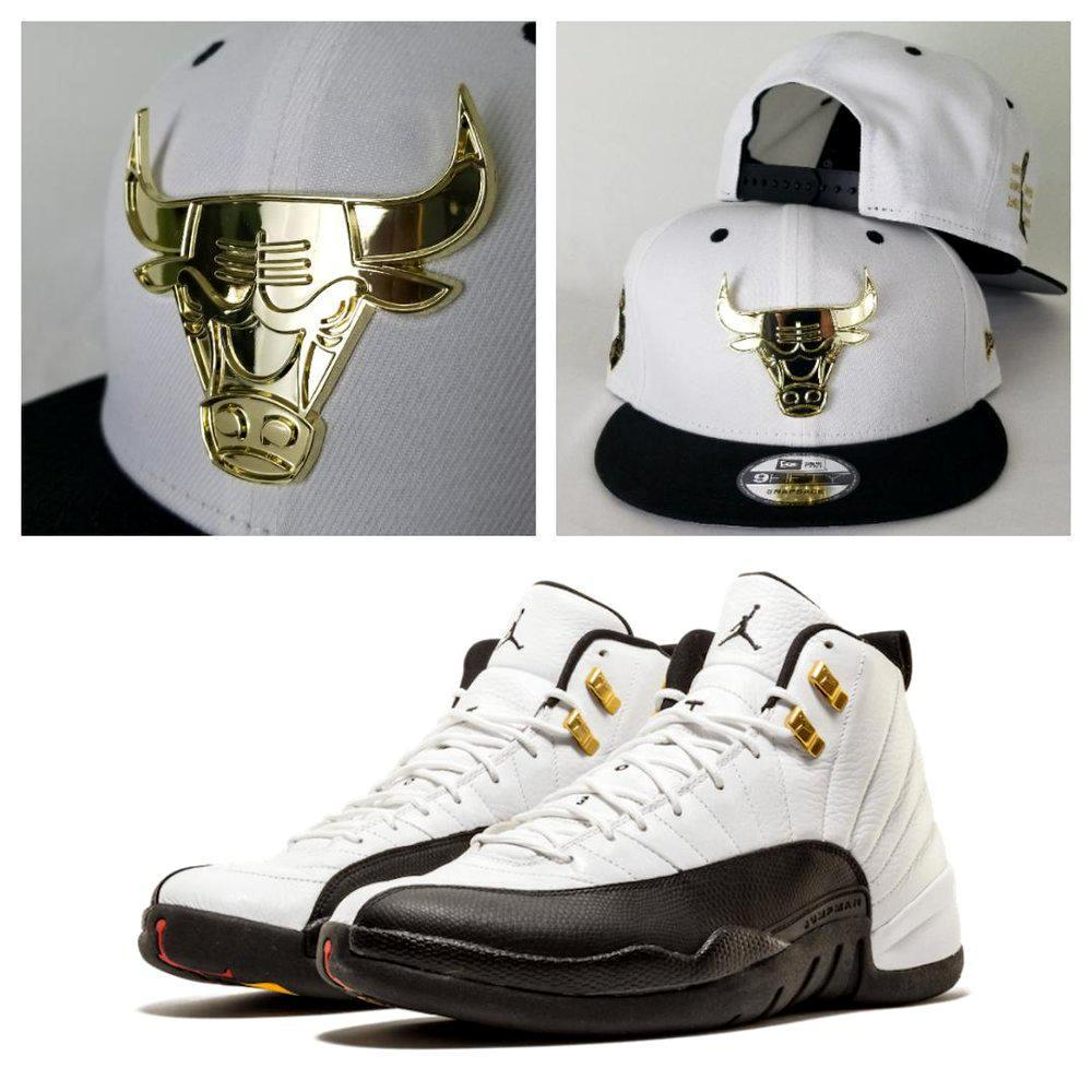 Matching New Era Gold Metal Chicago Bulls 9Fifty Snapback for Jordan 12 Taxi