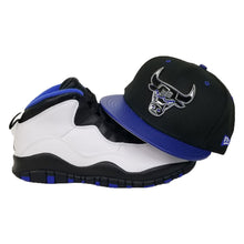 Load image into Gallery viewer, Matching New Era Metal Chicago Bulls Snapback hat for Jordan 10 Orlando