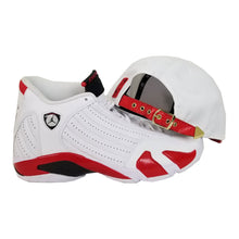 Load image into Gallery viewer, Matching New Era Metal Chicago Bulls Strapback for Jordan 14 Candy Cane