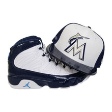 Load image into Gallery viewer, Matching New Era Miami Marlins Fitted Hat for Jordan 9 Retro White / Navy
