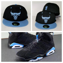 Load image into Gallery viewer, Matching New Era NBA Chicago Bulls Fitted Hat for Jordan 6 UNC Blue