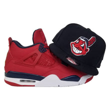 Load image into Gallery viewer, Matching New Era Navy Cleveland Indians Snapback Hat For Jordan 4 FIBA