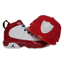 Load image into Gallery viewer, Matching New Era Oakland Raiders Fitted Hat For Jordan 9 Gym Red