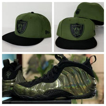 Load image into Gallery viewer, Matching New Era Oakland Raiders Fitted Hat for Nike Foamposite Legion Green Foams