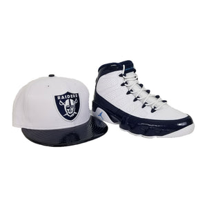 Matching New Era Oakland Raiders Snapback for Jordan 9 Retro White / Navy