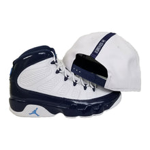 Load image into Gallery viewer, Matching New Era Oakland Raiders Snapback for Jordan 9 Retro White / Navy