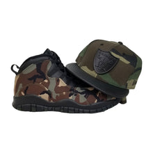 Load image into Gallery viewer, Matching New Era Oakland Raiders Strapback Hat for Jordan 10 Desert Camo