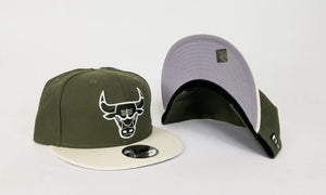 Matching New Era Olive Green Chicago Bulls Fitted Hat for Jordan 12 Chris Paul