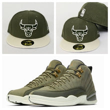Load image into Gallery viewer, Matching New Era Olive Green Chicago Bulls Fitted Hat for Jordan 12 Chris Paul